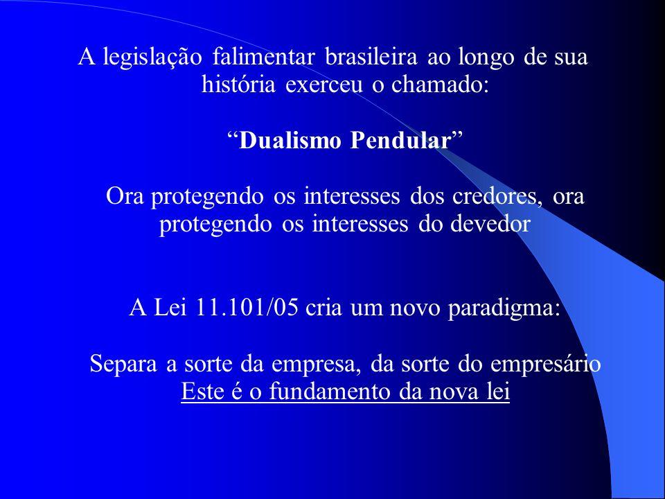 A legislação falimentar brasileira ao longo de sua história exerceu o chamado: Dualismo Pendular Ora protegendo os interesses dos credores, ora protegendo os interesses do devedor A Lei 11.101/05 cria um novo paradigma: Separa a sorte da empresa, da sorte do empresário Este é o fundamento da nova lei