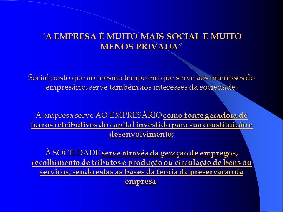 A EMPRESA É MUITO MAIS SOCIAL E MUITO MENOS PRIVADA Social posto que ao mesmo tempo em que serve aos interesses do empresário, serve também aos interesses da sociedade.