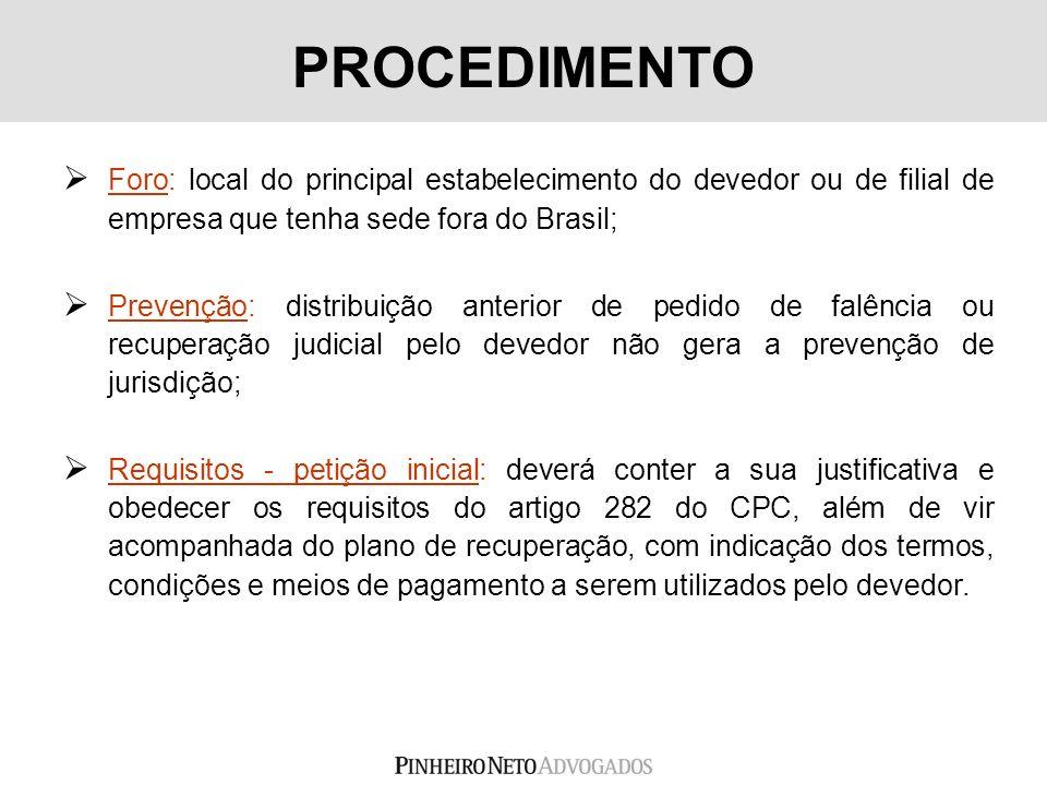 PROCEDIMENTO Foro: local do principal estabelecimento do devedor ou de filial de empresa que tenha sede fora do Brasil;