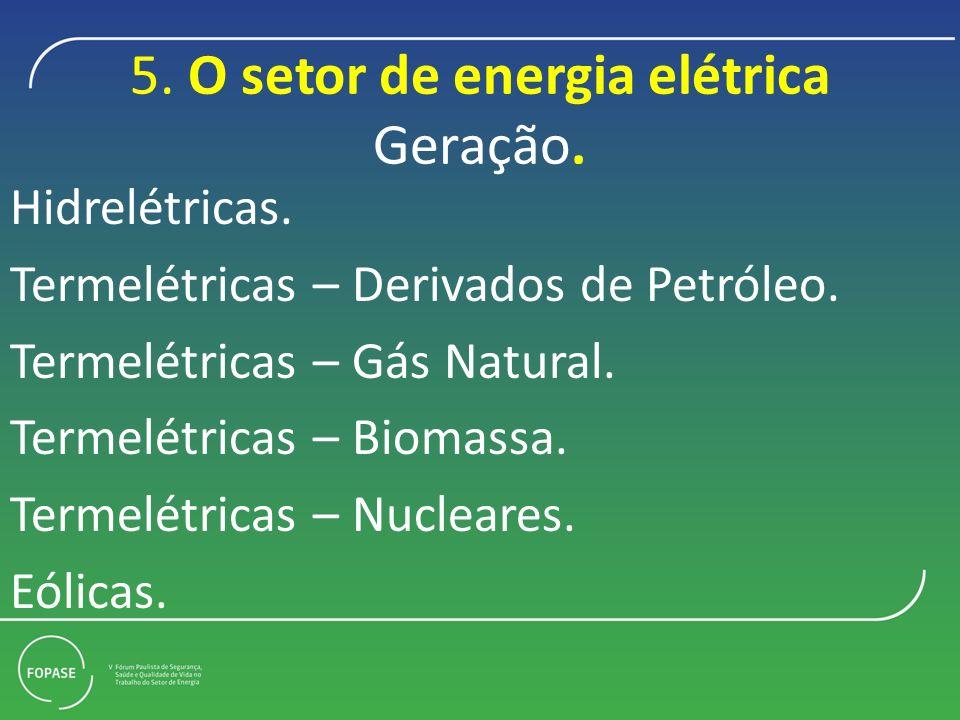 5. O setor de energia elétrica Geração.