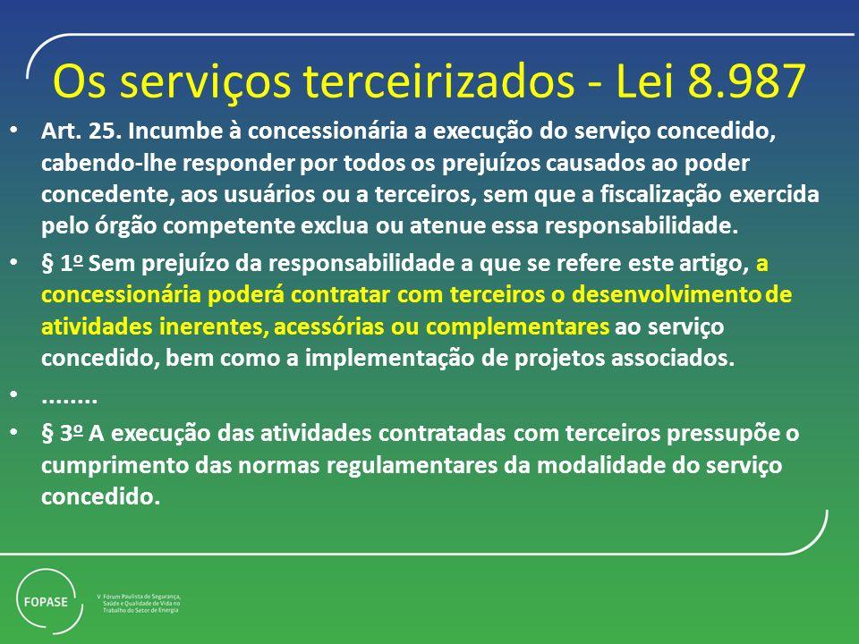 Os serviços terceirizados - Lei 8.987