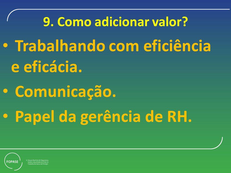 Trabalhando com eficiência e eficácia. Comunicação.