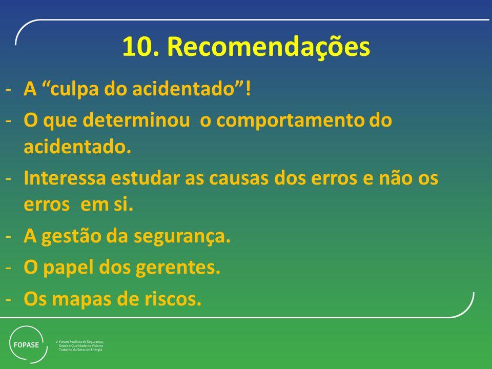 10. Recomendações A culpa do acidentado !