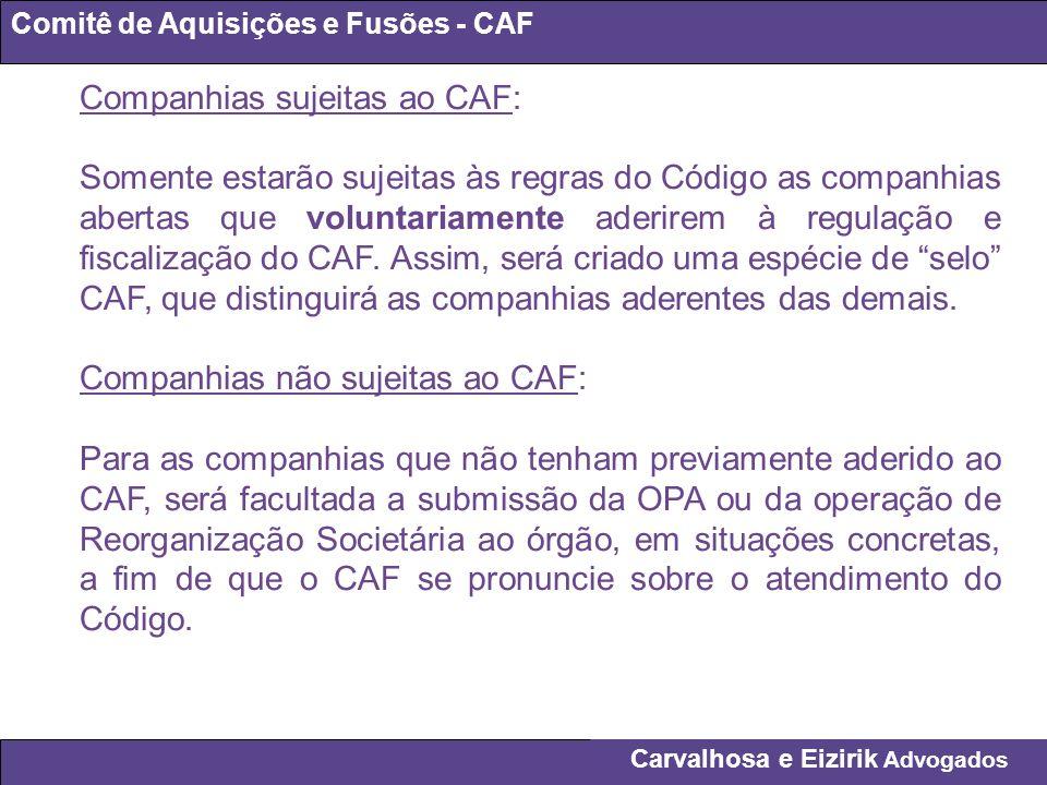Companhias sujeitas ao CAF: