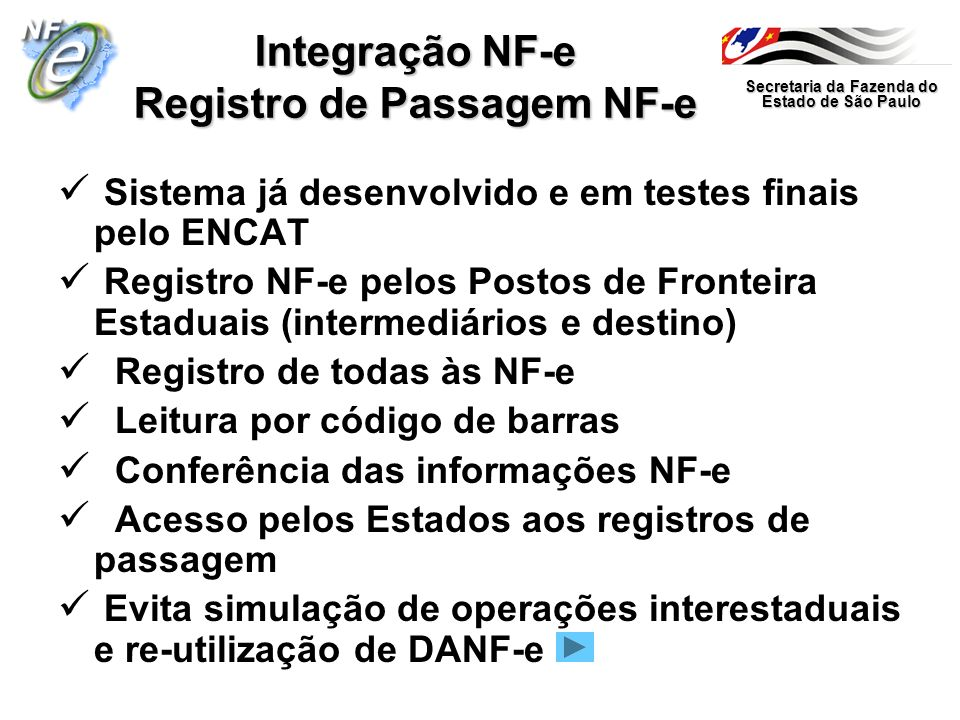 Integração NF-e Registro de Passagem NF-e
