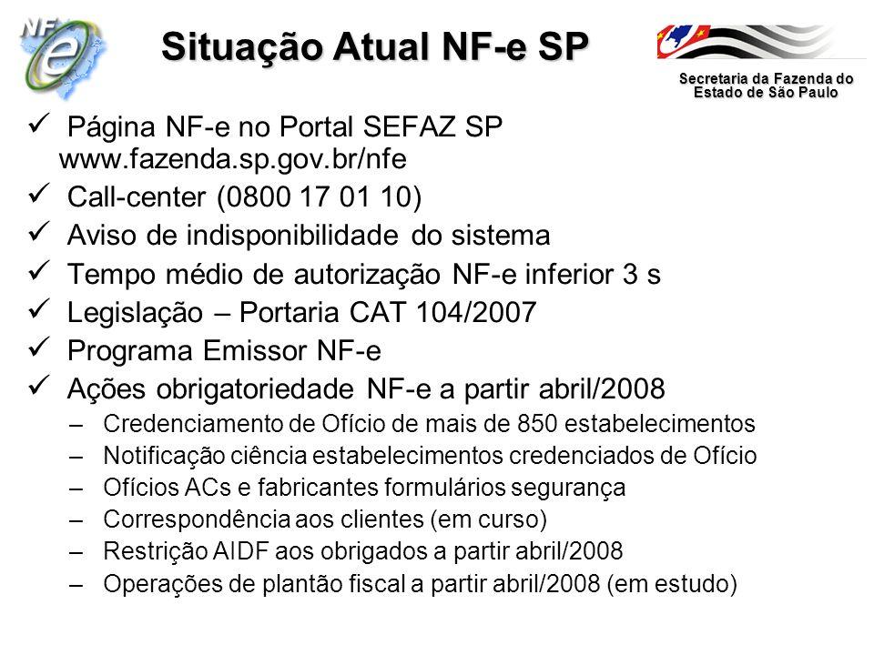 Situação Atual NF-e SP Página NF-e no Portal SEFAZ SP www.fazenda.sp.gov.br/nfe. Call-center (0800 17 01 10)