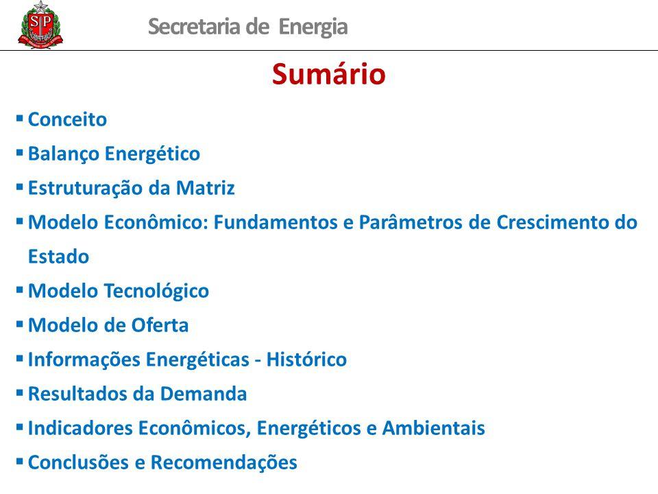 Sumário Conceito Balanço Energético Estruturação da Matriz