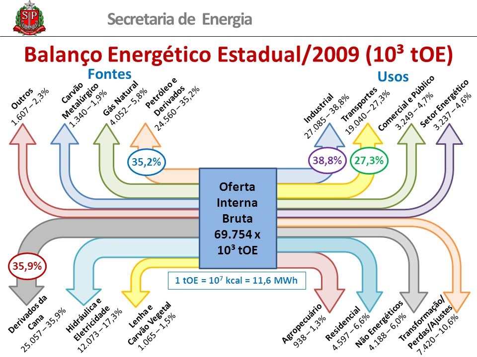 Balanço Energético Estadual/2009 (10³ tOE)
