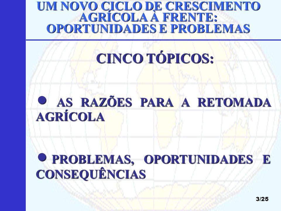 AS RAZÕES PARA A RETOMADA AGRÍCOLA