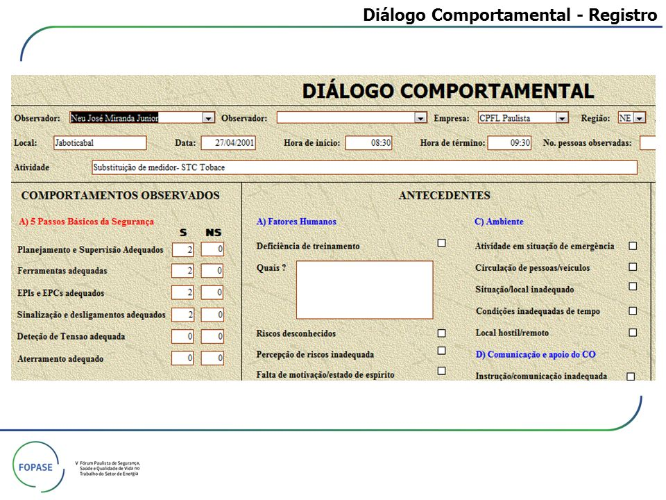 Diálogo Comportamental - Registro