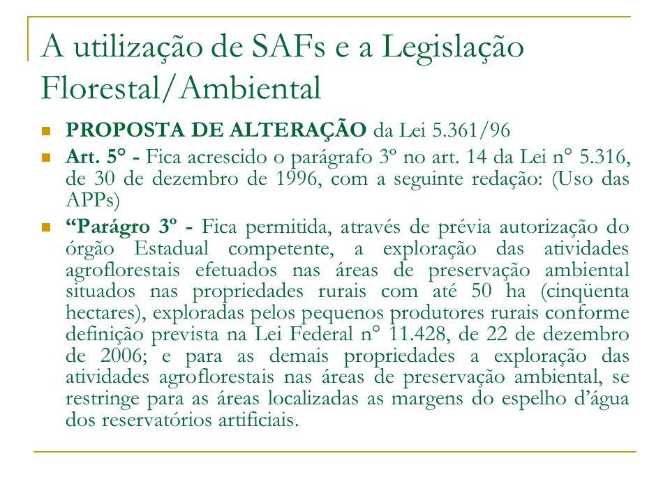 A utilização de SAFs e a Legislação Florestal/Ambiental