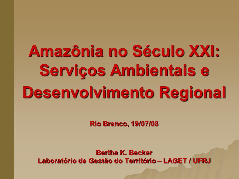 Amazônia no Século XXI: Serviços Ambientais e Desenvolvimento Regional Rio Branco, 19/07/08 Bertha K.