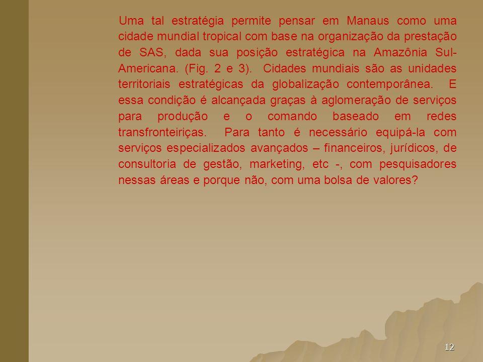 Uma tal estratégia permite pensar em Manaus como uma cidade mundial tropical com base na organização da prestação de SAS, dada sua posição estratégica na Amazônia Sul- Americana.
