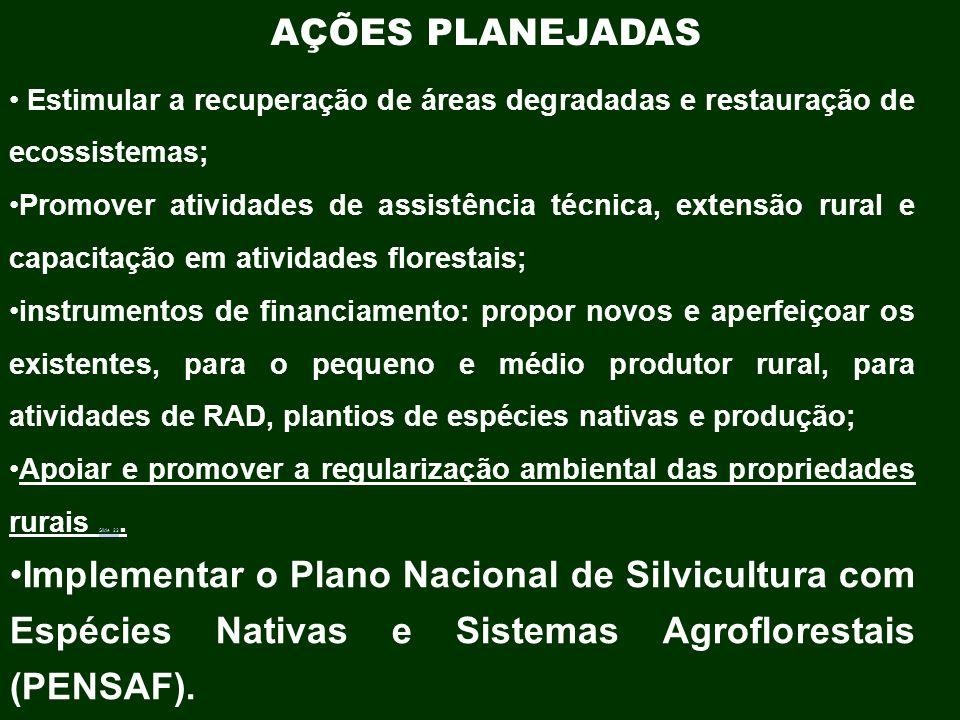 AÇÕES PLANEJADAS Estimular a recuperação de áreas degradadas e restauração de ecossistemas;