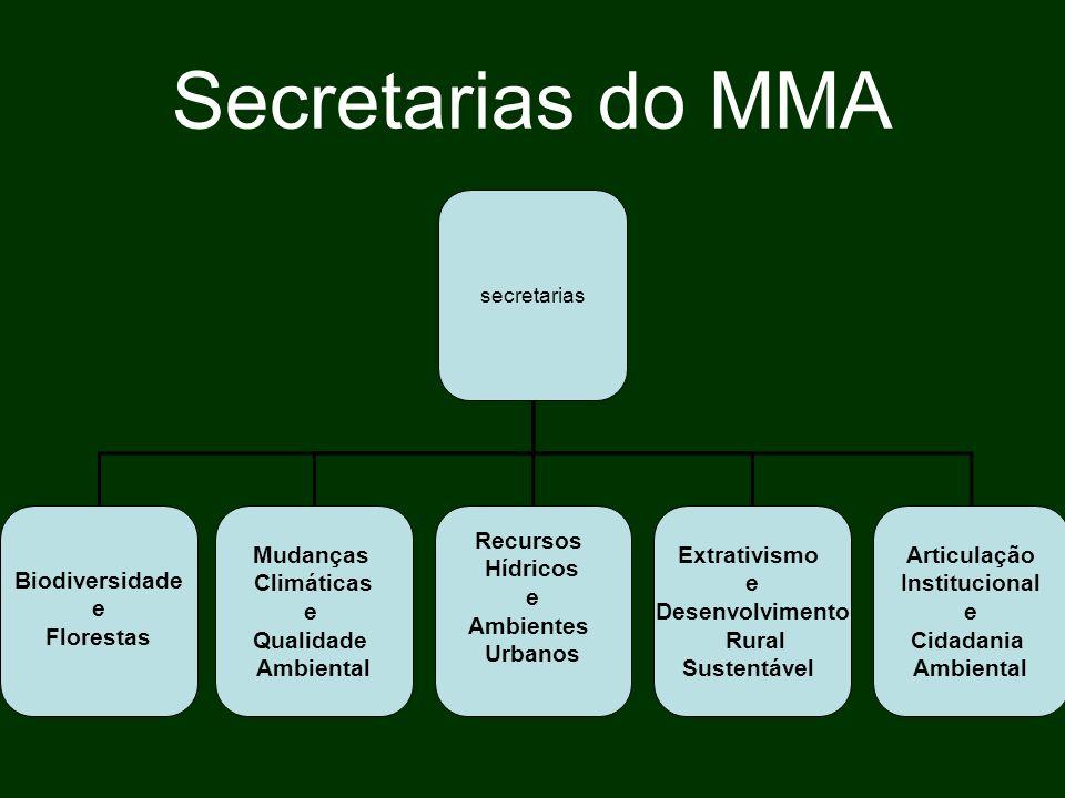 Secretarias do MMA Biodiversidade e Florestas Mudanças Climáticas e