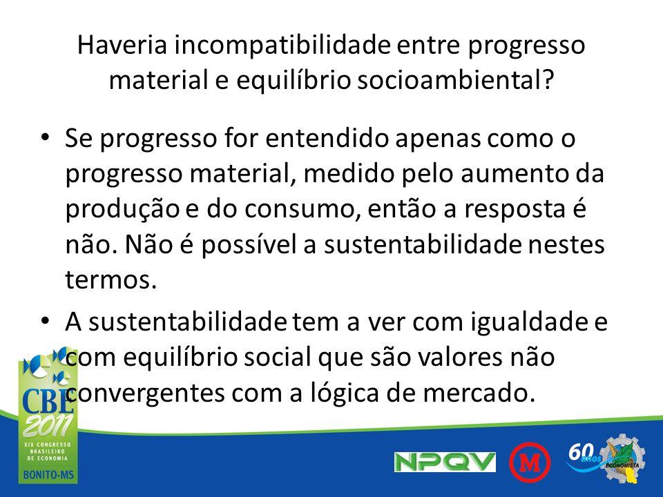 Haveria incompatibilidade entre progresso material e equilíbrio socioambiental