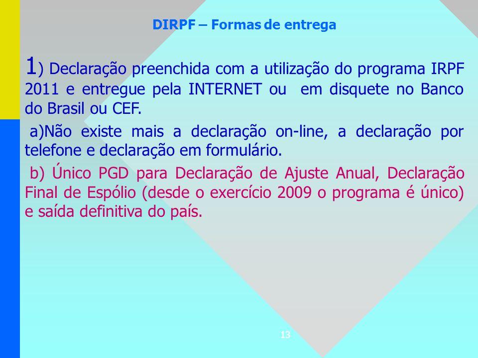 DIRPF – Formas de entrega