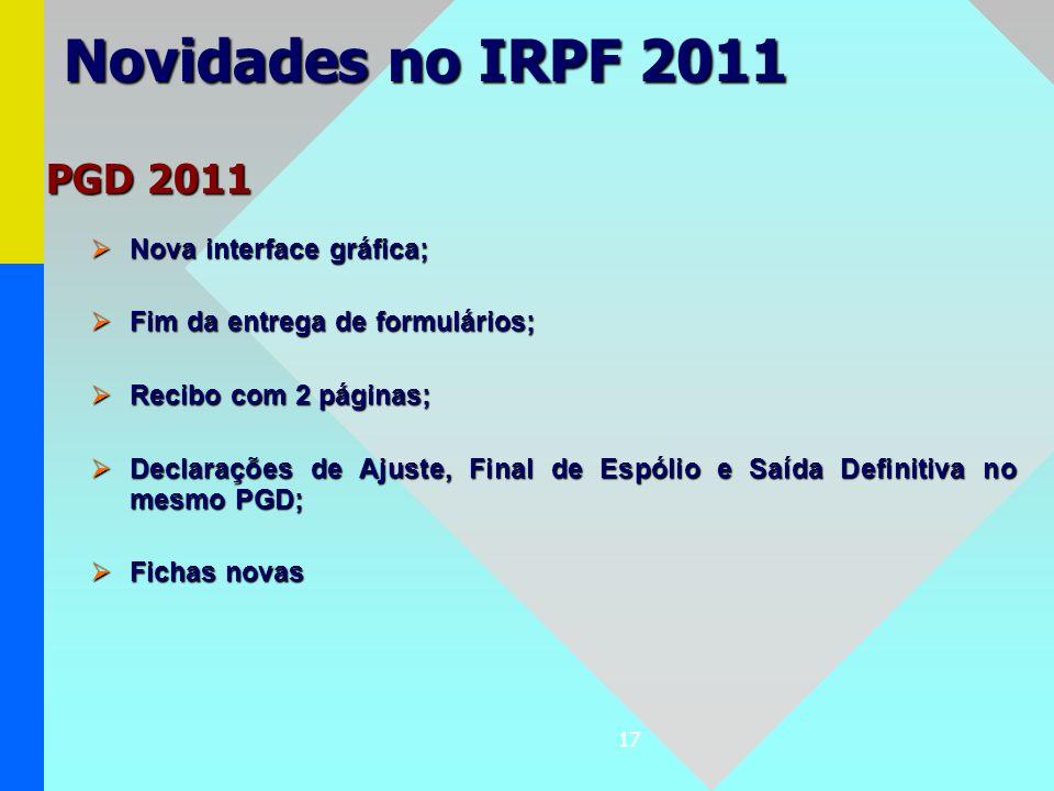Novidades no IRPF 2011 PGD 2011 Nova interface gráfica;