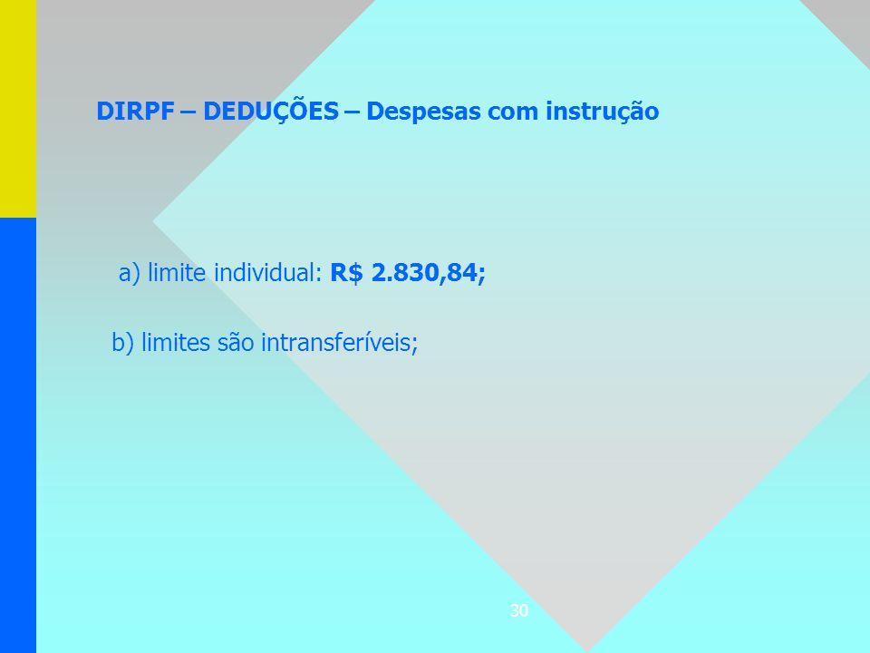 DIRPF – DEDUÇÕES – Despesas com instrução