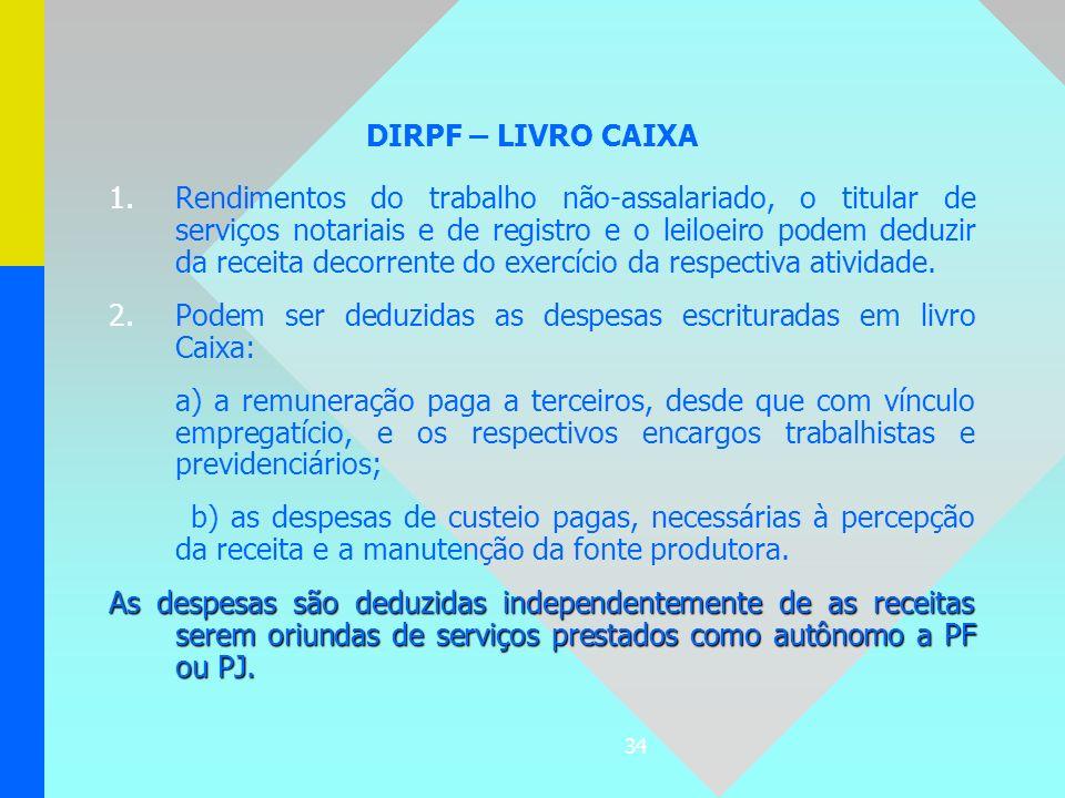 DIRPF – LIVRO CAIXA