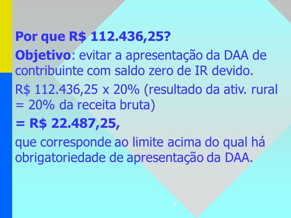 Por que R$ 112.436,25 Objetivo: evitar a apresentação da DAA de contribuinte com saldo zero de IR devido.