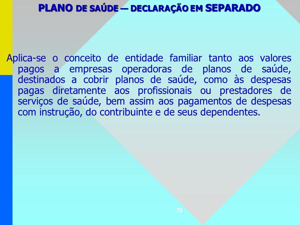 PLANO DE SAÚDE — DECLARAÇÃO EM SEPARADO