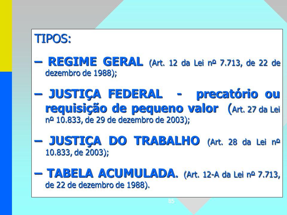 TIPOS: – REGIME GERAL (Art. 12 da Lei nº 7.713, de 22 de dezembro de 1988);
