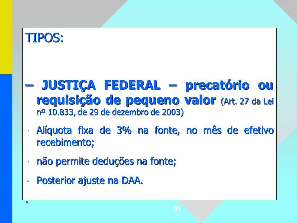 TIPOS:– JUSTIÇA FEDERAL – precatório ou requisição de pequeno valor (Art. 27 da Lei nº 10.833, de 29 de dezembro de 2003)
