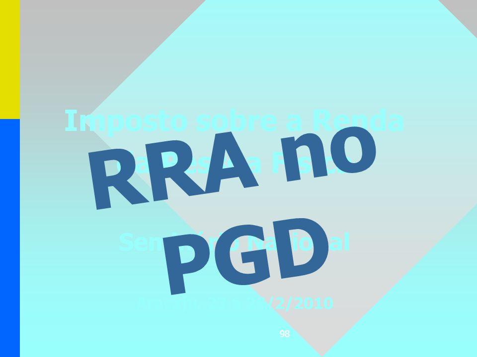 RRA no PGD Imposto sobre a Renda da Pessoa Física Seminário Nacional