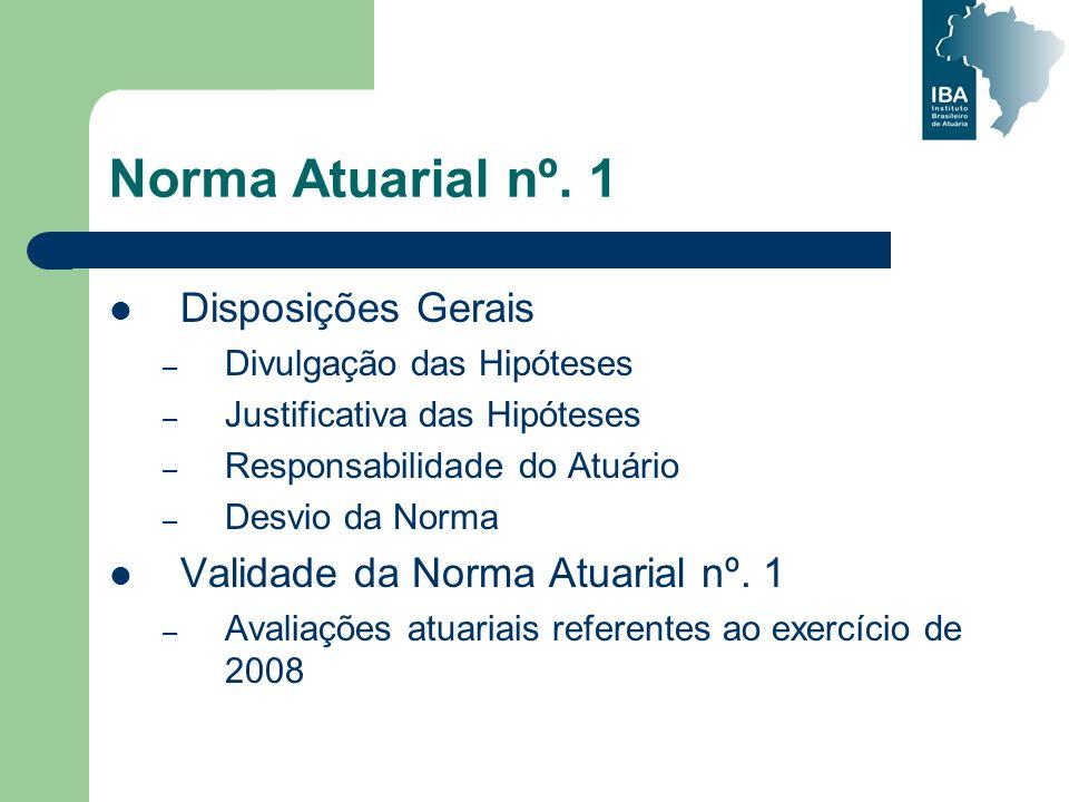 Norma Atuarial nº. 1 Disposições Gerais