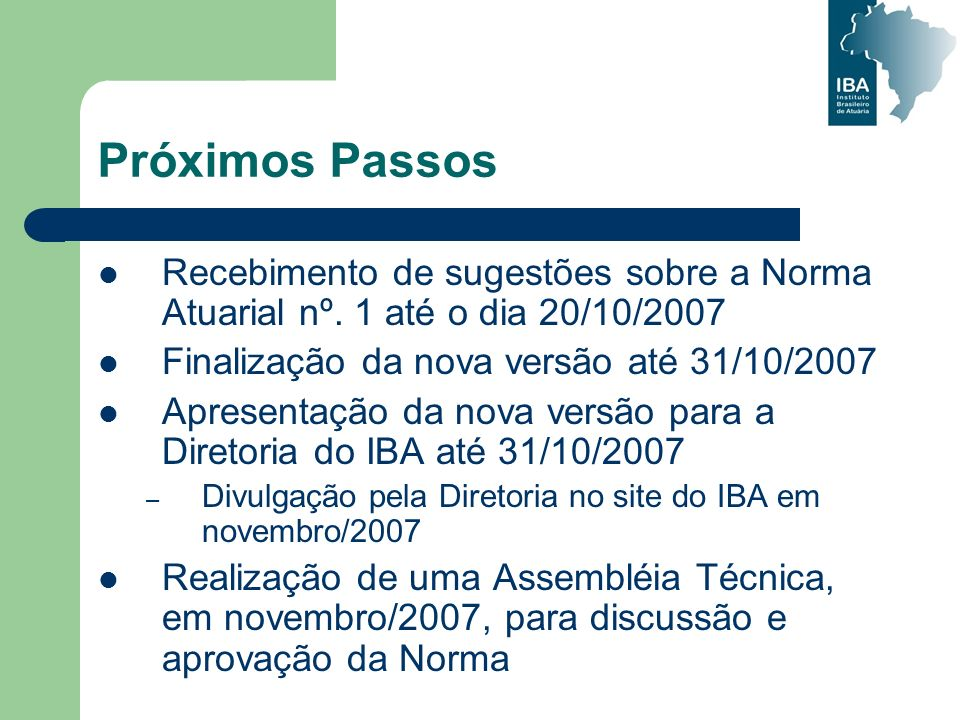 Próximos PassosRecebimento de sugestões sobre a Norma Atuarial nº. 1 até o dia 20/10/2007. Finalização da nova versão até 31/10/2007.