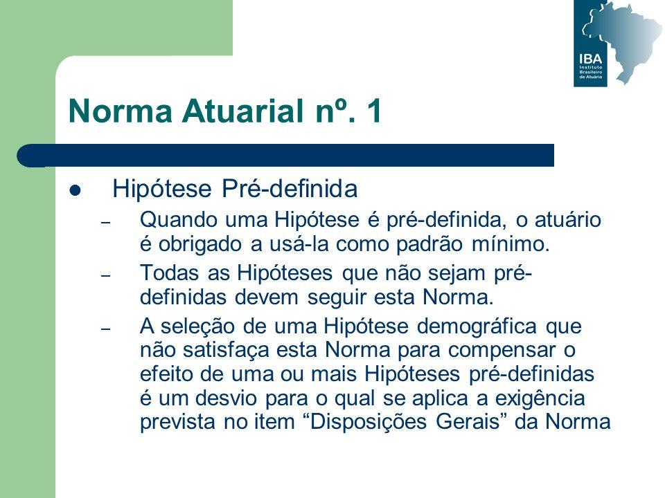 Norma Atuarial nº. 1 Hipótese Pré-definida