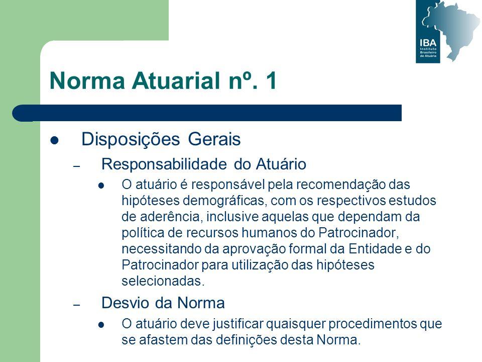 Norma Atuarial nº. 1 Disposições Gerais Responsabilidade do Atuário