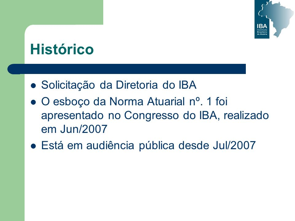 Histórico Solicitação da Diretoria do IBA