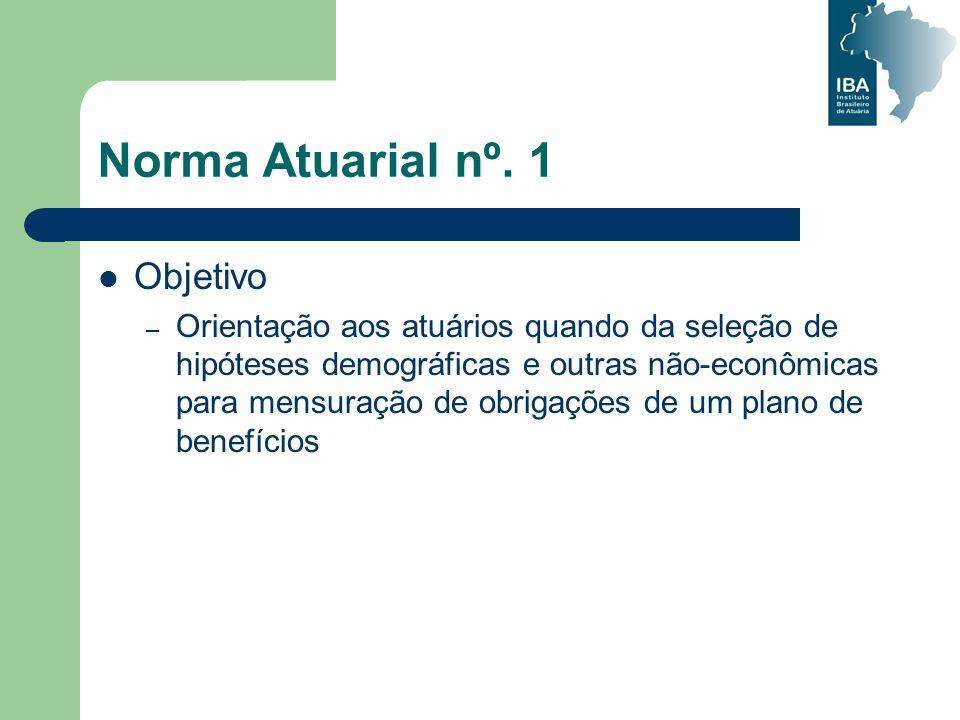 Norma Atuarial nº. 1 Objetivo