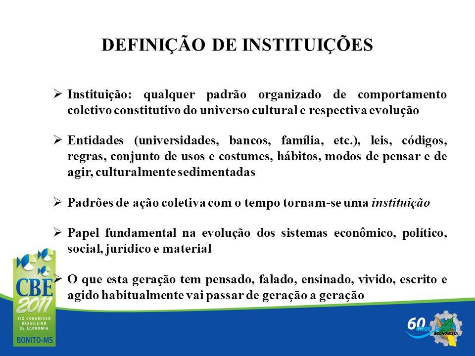 DEFINIÇÃO DE INSTITUIÇÕES