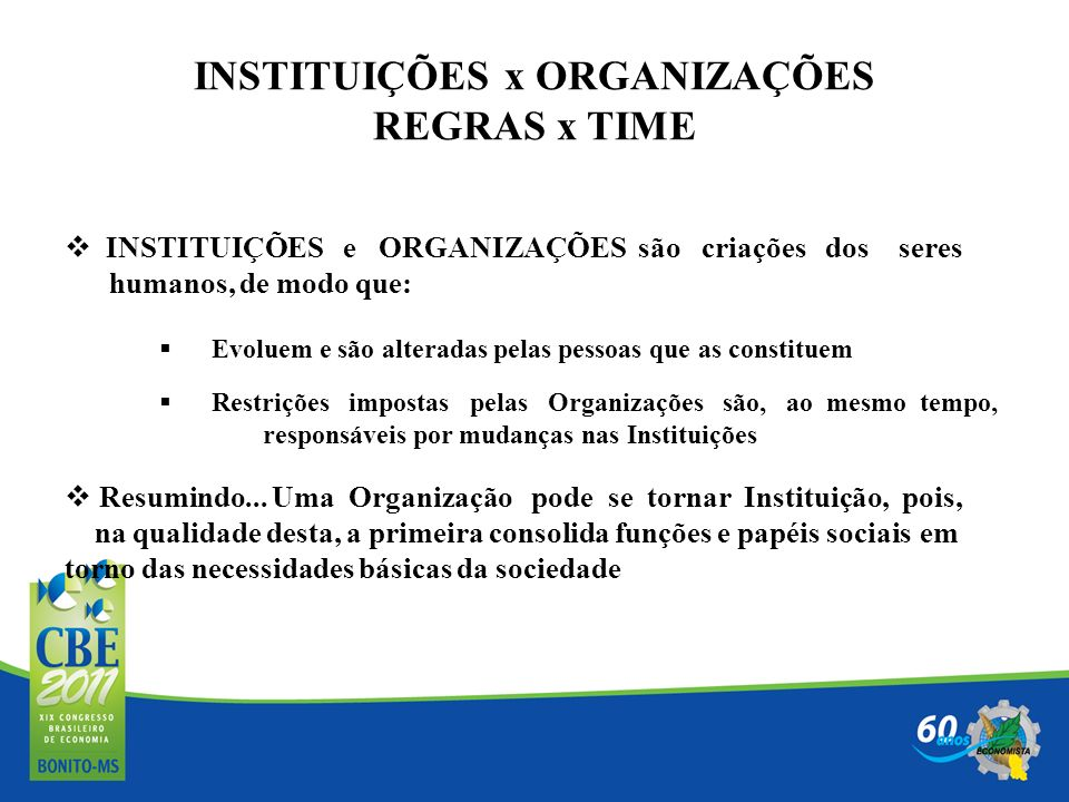 INSTITUIÇÕES x ORGANIZAÇÕES REGRAS x TIME