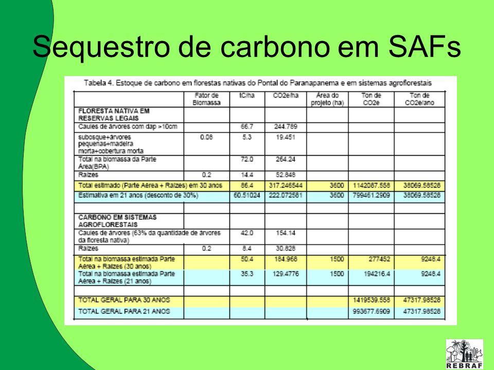Sequestro de carbono em SAFs