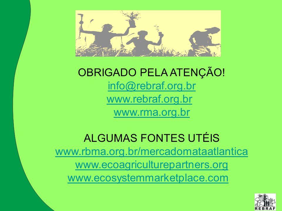 OBRIGADO PELA ATENÇÃO! info@rebraf.org.br. www.rebraf.org.br. www.rma.org.br. ALGUMAS FONTES UTÉIS.
