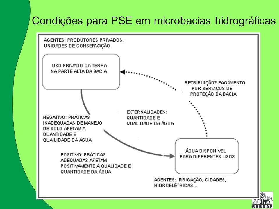 Condições para PSE em microbacias hidrográficas