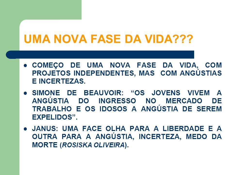 UMA NOVA FASE DA VIDA COMEÇO DE UMA NOVA FASE DA VIDA, COM PROJETOS INDEPENDENTES, MAS COM ANGÚSTIAS E INCERTEZAS.