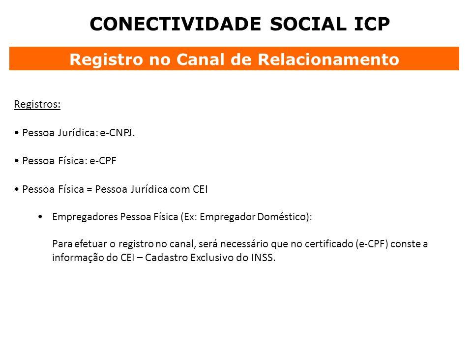 CONECTIVIDADE SOCIAL ICP Registro no Canal de Relacionamento