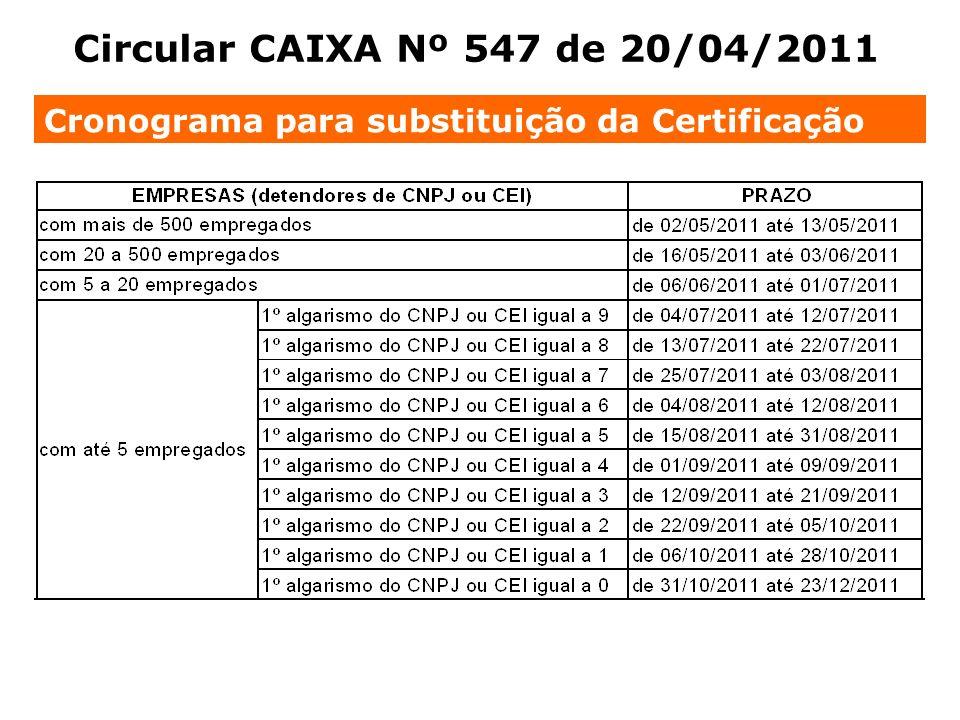 Circular CAIXA Nº 547 de 20/04/2011 Cronograma para substituição da Certificação