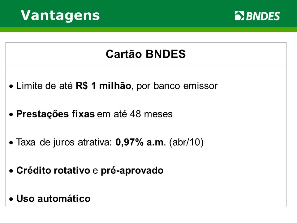 Vantagens Cartão BNDES Limite de até R$ 1 milhão, por banco emissor