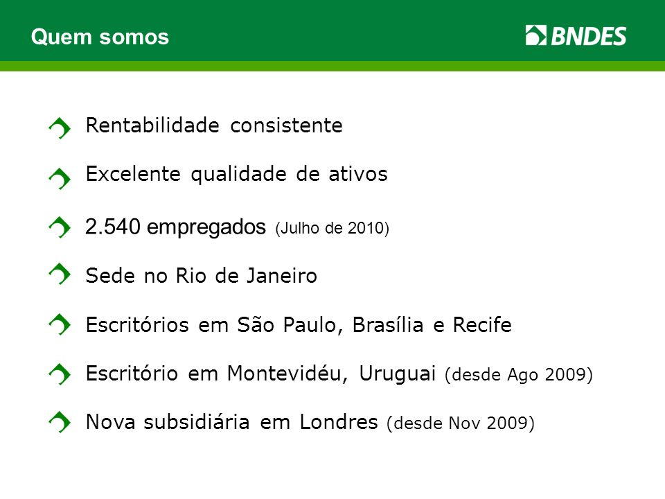 Quem somos 2.540 empregados (Julho de 2010) Rentabilidade consistente
