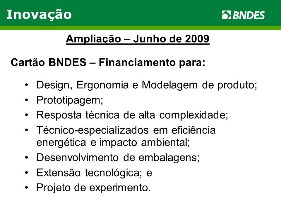 Inovação Ampliação – Junho de 2009 Cartão BNDES – Financiamento para: