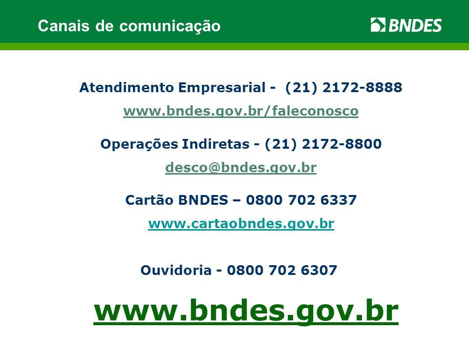 www.bndes.gov.br Canais de comunicação