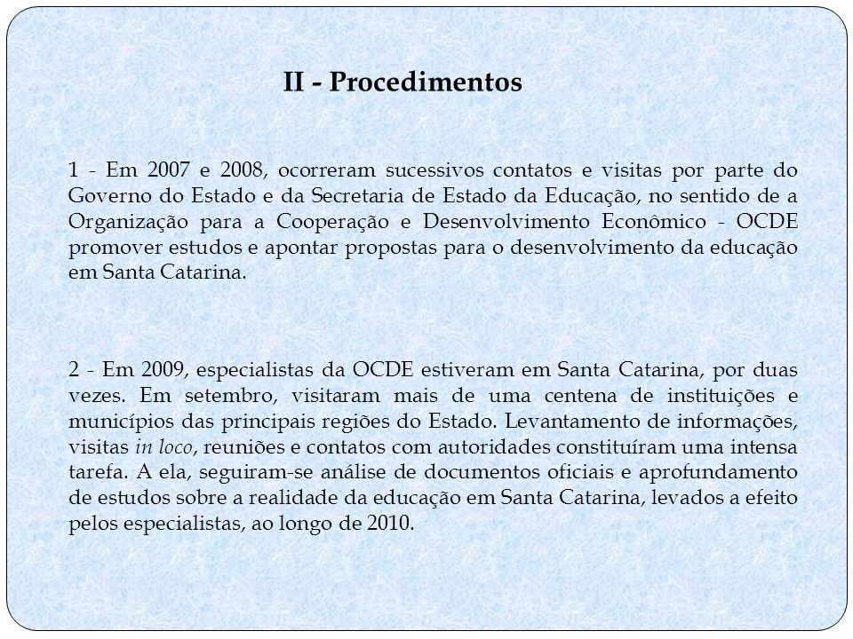 II - Procedimentos