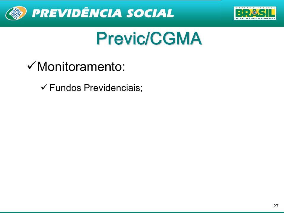 Previc/CGMA Monitoramento: Fundos Previdenciais;