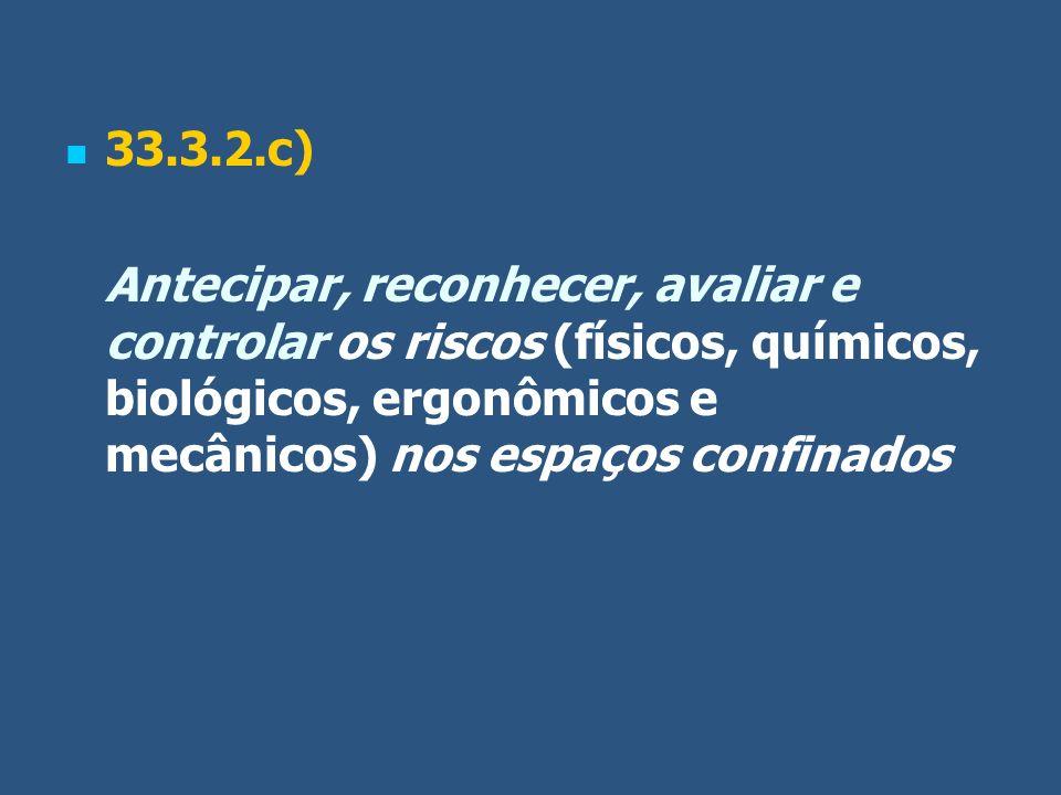 33.3.2.c) Antecipar, reconhecer, avaliar e controlar os riscos (físicos, químicos, biológicos, ergonômicos e mecânicos) nos espaços confinados.